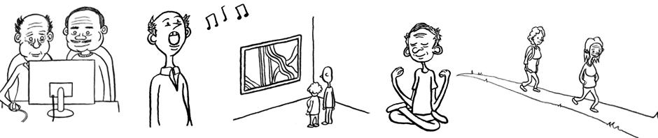 Cartoon drawings of U3A activities